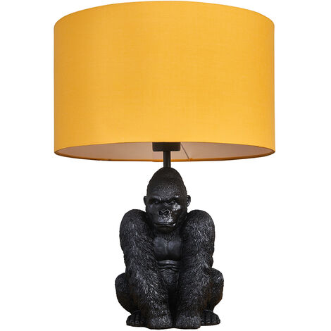 """main image of """"Gorilla Black Table Lamp With Drum Shade + LED Bulb - Black & Gold"""""""