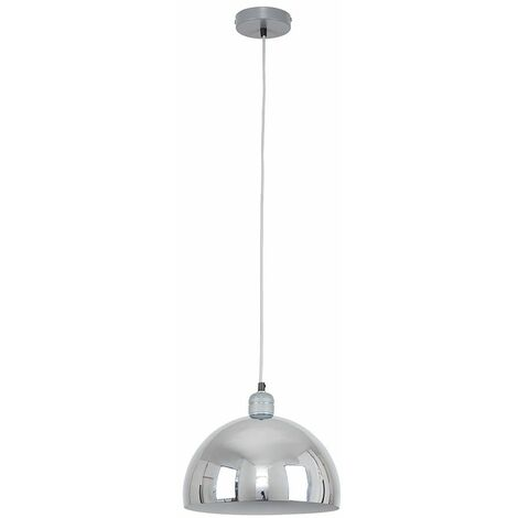 Minisun Grey Ceiling Lampholder Chrome Curved Light Shade