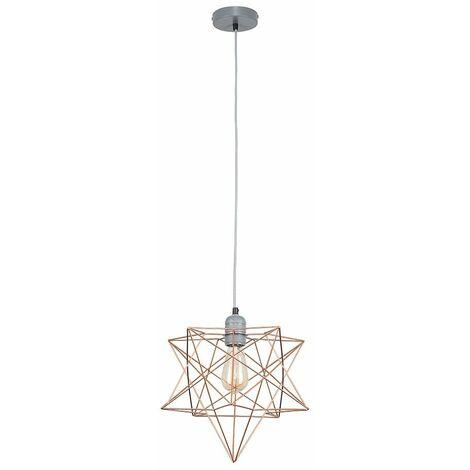 Minisun Grey Ceiling Lampholder + Copper Geometric Star Shade