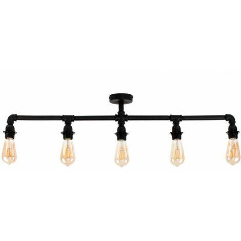 "main image of ""Industrial 5 Way Bar Ceiling Light - Add LED Bulbs"""
