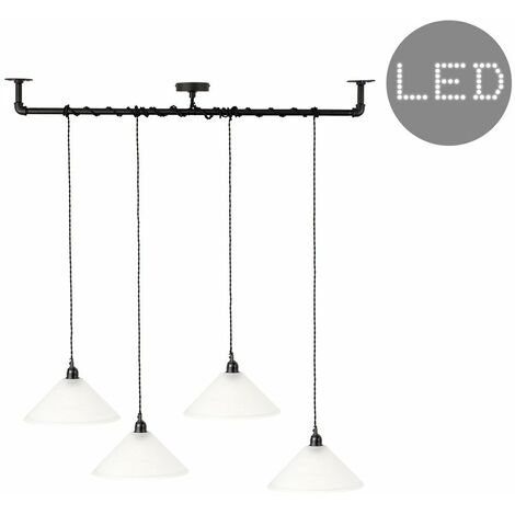 Minisun Industrial Black 4 Way Bar Wrap Over Ceiling Light + Frosted Glass Shades + 4W Led Filament Bulbs - Warm White