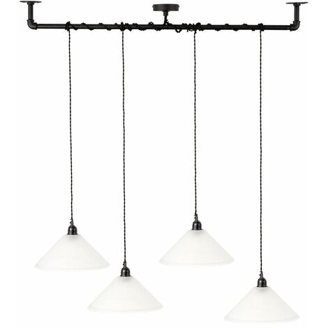 Minisun Industrial Black 4 Way Bar Wrap Over Ceiling Light + Frosted Glass Shades