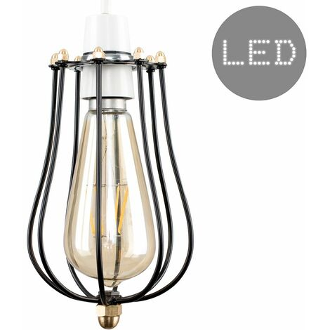 Minisun Industrial Black & Antique Brass Ceiling Pendant Shade - Add LED Bulb