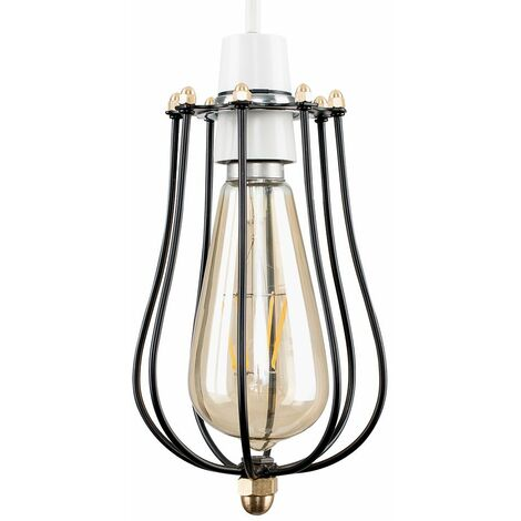 Minisun Industrial Black & Antique Brass Ceiling Pendant Shade - No Bulb