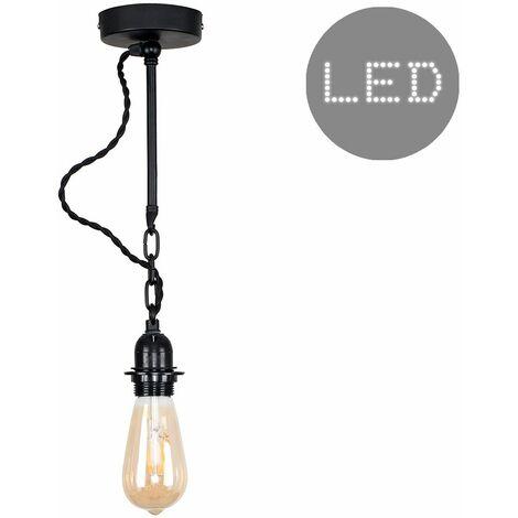 Minisun Industrial Matt Black Wall Ceiling Light + 4W LED Filament Bulb - Warm White - Black