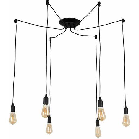 Minisun Industrial Style Black 6 Way Ceiling Pendant Light Fitting