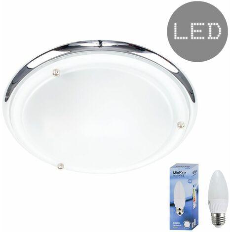 "main image of ""IP44 Flush Bathroom Ceiling Light + 4W Cool White LED Candle Bulb - Chrome"""