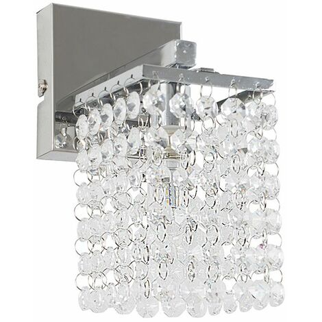 Minisun Ip44 Rated Square Chrome K5 Crystal Droplet Bathroom Wall Light