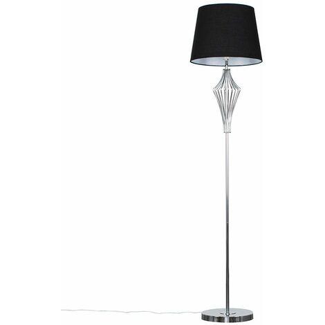 Jaspa 152.5cm Chrome Floor Lamp + LED Bulb - Black