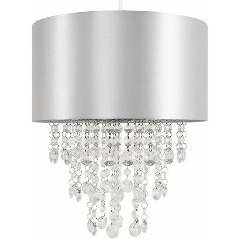 "main image of ""MiniSun - Jesmond Grey Pendant Shade With Clear Droplets + LED Bulb"""