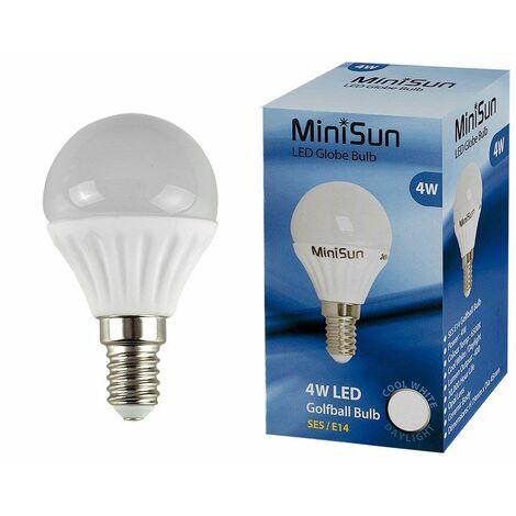 Minisun LED 4W SES E14 Golf Ball Globe Lamp Light Bulbs