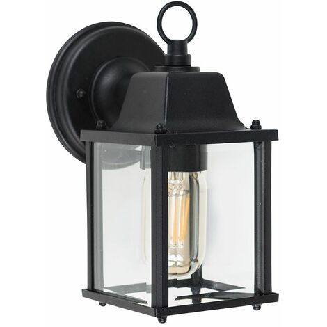 LED Wall Light Metal & Glass Lantern Outdoor - No Bulb