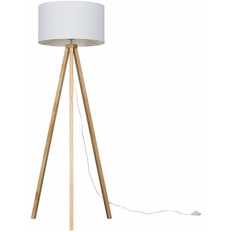 """main image of """"Light Wood Tripod Floor Lamp With Large Drum Shade - No Bulb"""""""