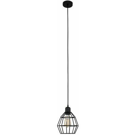 MiniSun Matt Black Ceiling Lampholder + Black Basket Shade