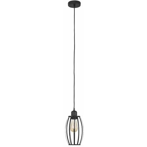 MiniSun Matt Black Ceiling Lampholder + Black Metal Wire Oval Light Shade + 4w LED Filament Bulb Warm White