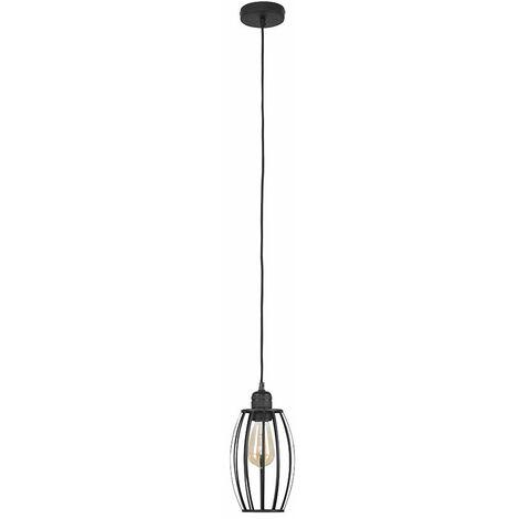 MiniSun Matt Black Ceiling Lampholder + Black Metal Wire Oval Light Shade