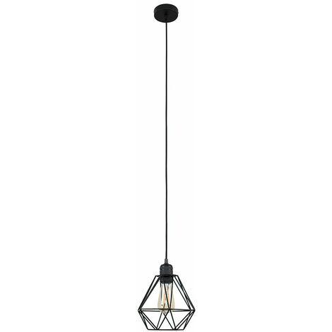 MiniSun Matt Black Ceiling Lampholder + Black Shade - 4w LED Filament Light Bulb Warm White