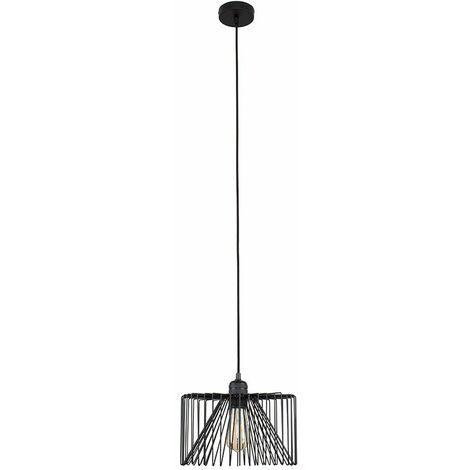 Minisun Matt Black Ceiling Lampholder + Black Wire Shade - 4W LED Filament Bulb Warm White - Black