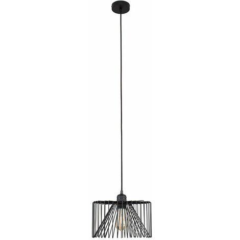 MiniSun Matt Black Ceiling Lampholder + Black Wire Shade