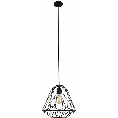 Minisun Matt Black Ceiling Lampholder + Geometric Black Shade - 4W LED Filament Light Bulb Warm White - Black