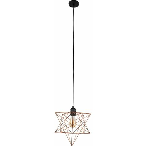 Minisun Matt Black Ceiling Pendant Light + Copper Geometric Star Shade - 4W LED Filament Bulb Warm White
