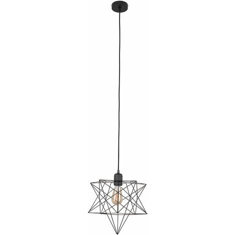 Minisun Matt Black Ceiling Pendant Light + Geometric Star Shade - 4W LED Filament Bulb Warm White - Black