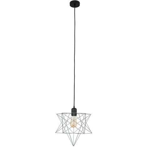 Minisun Matt Black Ceiling Pendant Light + Grey Geometric Star Shade - 4W LED Filament Bulb Warm White - Black