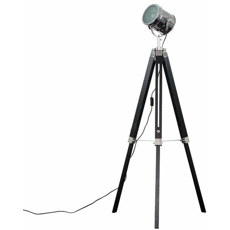Minisun Matt Black & Chrome Industrial Photography/Film Studio Style Adjustable Spotlight Tripod Floor Lamp - No Bulb