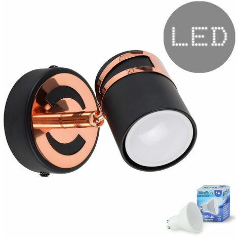 Minisun Matt Black & Copper Adjustable Wall / Ceiling Spotlight 5W LED GU10 Bulb - Cool White - Black