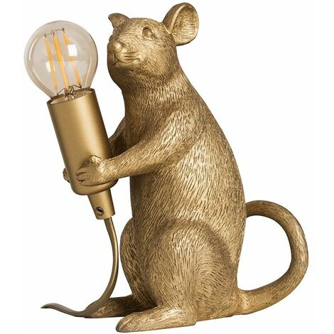 Minisun Metallic Gold Painted Rat Table Lamp + 4W LED Filament Bulb Warm White - Gold