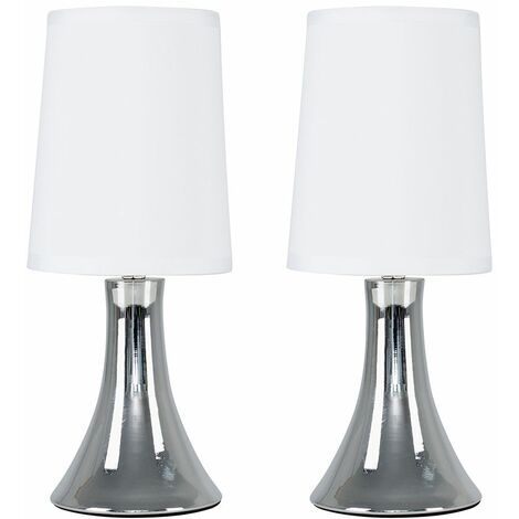Minisun Modern LED Touch Table Lamp Pair Dimmable Chrome Bedside Lounge Light Shade 3000K LED