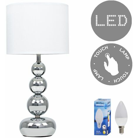 """main image of """"MiniSun - Modern Touch Dimmer Table Lamp Stacked Ball + 5W Warm White LED Candle Bulb - White"""""""