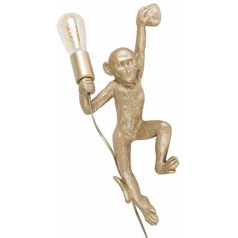 Minisun Monkey Holding A Light Bulb Wall Light Vintage Filament LED Bulb - Gold LED - Gold