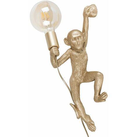 MiniSun Monkey Holding Light Bulb Wall Light + 6W LED Filament Bulb - Gold - Gold