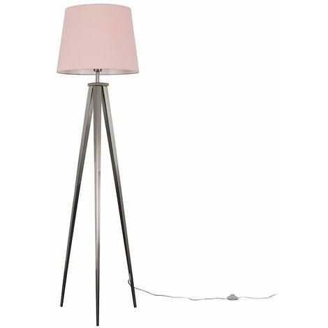 MiniSun Nero Brushed Chrome Tripod Floor Lamp - Beige - Silver
