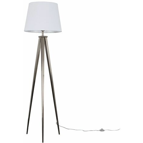 MiniSun Nero Brushed Chrome Tripod Floor Lamp - Mustard