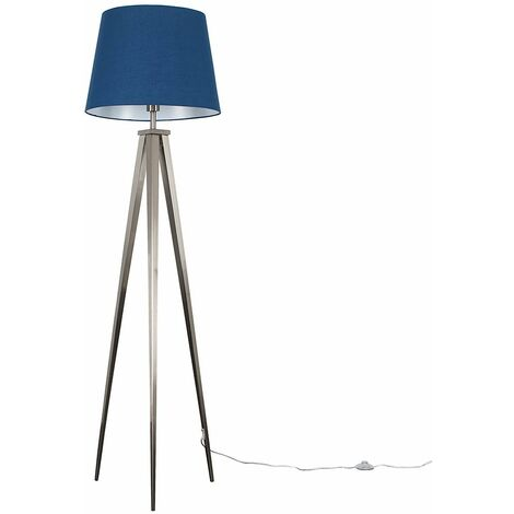 MiniSun Nero Brushed Chrome Tripod Floor Lamp - Mustard - Silver