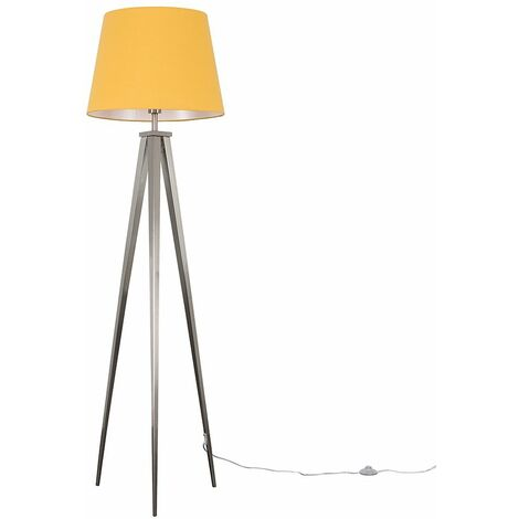 MiniSun Nero Brushed Chrome Tripod Floor Lamp - Mustard - Silver