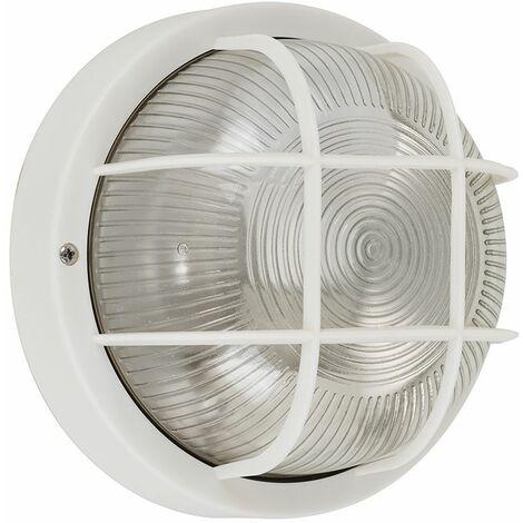 Minisun Outdoor Security Bulkhead Wall Light Garden Round White LED Light Bulb