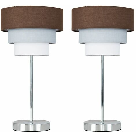 Minisun Pair Chrome Touch Table Lamp 3 Tier Lampshades
