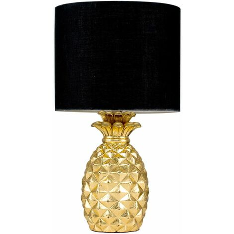 """main image of """"Pineapple Table Lamp with a Cotton Shade - 4w LED Golfball Bulb - Black"""""""