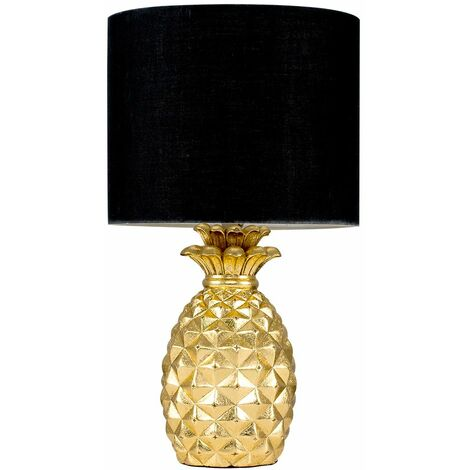"""main image of """"Pineapple Table Lamp with a Cotton Shade - Black"""""""