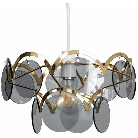 Minisun Polished Brass Two Tiered Smoked Disc Ceiling Pendant Light Shade