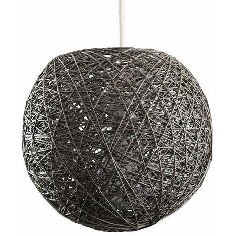 Minisun Rattan Wicker Globe Grey Pendant Light Small Shade Easy Fit Home Lighting