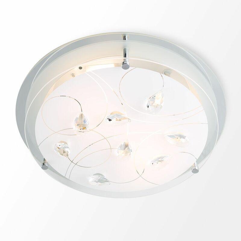 Modern Stylish Design Genuine K5 Crystal Glass Flush Round Ceiling Light LED