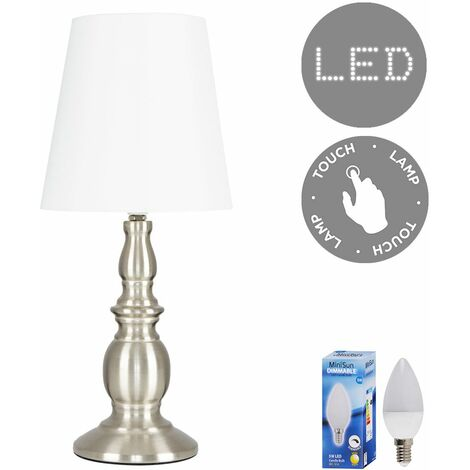 MiniSun Sierra Touch Dimmer Table Lamp + LED Bulb - Brushed Chrome - Silver