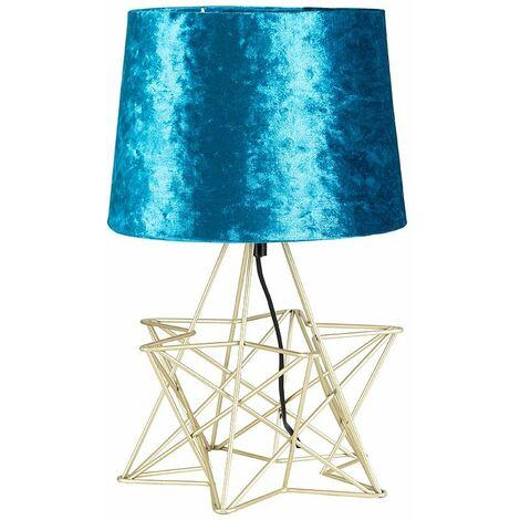 Minisun Silver Geometric Star Table Lamp + Velvet Shade