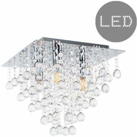 Minisun Square Chrome Acrylic Jewel Droplet Flush Ceiling Light + 4W LED Filament Bulbs - Warm White