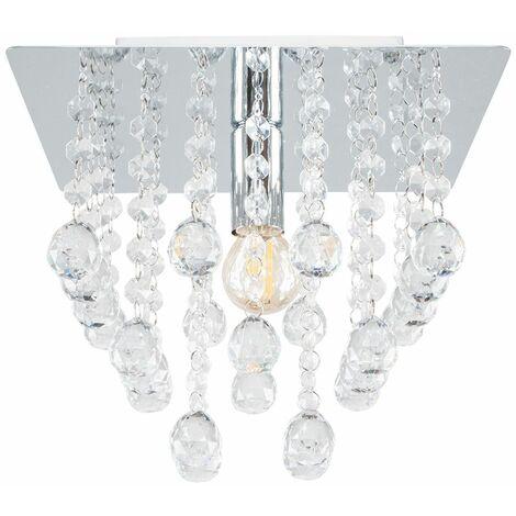 Minisun Square Chrome Plated Acrylic Jewel Droplet Flush Ceiling Fitting