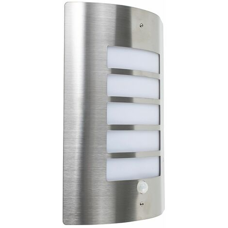 """main image of """"Stainless Steel & Frosted Lens IP44 PIR Motion Sensor Outdoor Wall Security Light - Cool White LED"""""""
